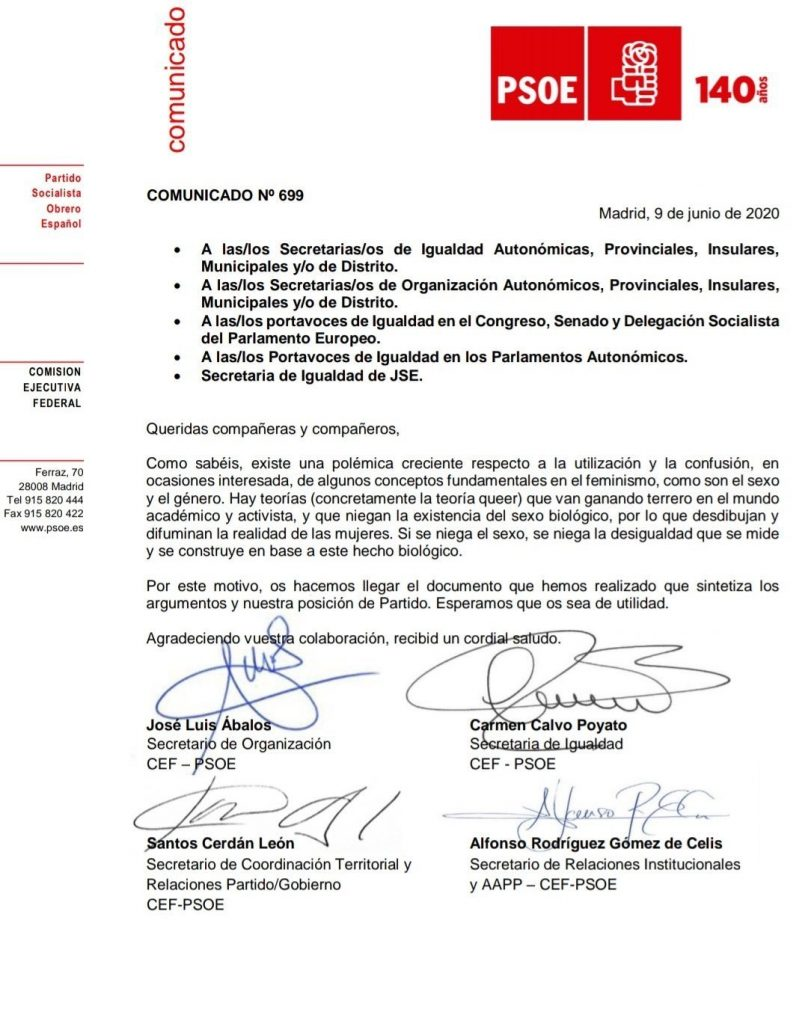 Documento interno TERF del PSOE contra el trans feminismo
